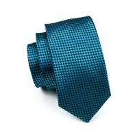 Luxusná kravata s pepitovým vzorom Tyrkys