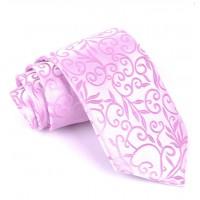 Luxusná kravata Vulcain s kvetinovým vzorom Pink FMJ KO003