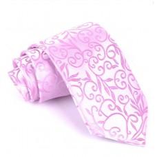 Luxusná kravata Vulcain s kvetinovým vzorom Pink FMJ KO003 Nova Moda FMJ