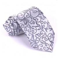 Luxusná kravata Vulcain s kvetinovým vzorom Grey FMJ KO002