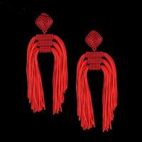Červené Dlhé Strapcové Náušnice FMJ 025