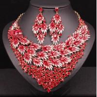 Luxusný Červený Set Náhrdelník a Náušnice Grace Swarovski Elements 119