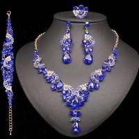 Swarovski Elements Súprava Náhrdelník Náušnice Náramok Prsteň Modrý 2697