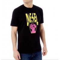Diesel Pánske Čierne Tričko Neon Statue Logo Veľkosť XL