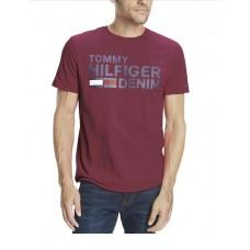 Tommy Hilfiger Denim Logo Pánske Tričko Bordó Veľkosť XL Nova Moda Tommy Hilfiger