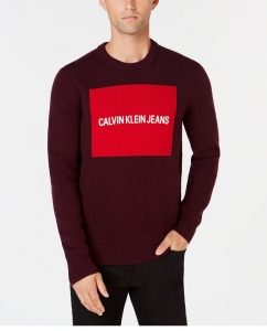 88b53eeebc Kúpiť Pánsky Bordový Sveter s Logom Calvin Klein