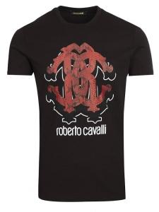 Pánske Tričko ROBERTO CAVALLI Čierne Veľkosť XL