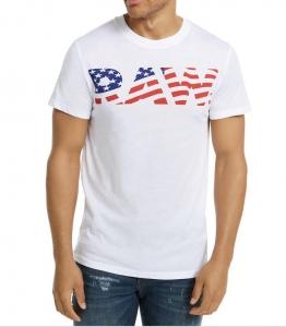 G-Star Raw Pánske Biele Tričko s Logom Vlajka Veľkosť XL
