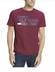 Tommy Hilfiger Denim Logo Pánske Tričko Bordó Veľkosť XL