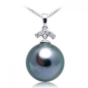 FMJ Pravá Tahitská Perla Náhrdelník v 18K Zlate s Diamantami P0159